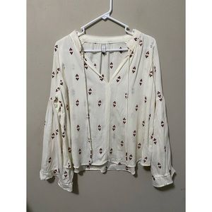 Gentle Fawn Embroidered Bell Sleeve V Neck Blouse